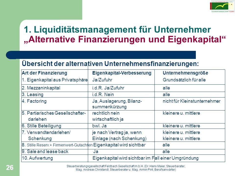 """1. Liquiditätsmanagement für Unternehmer """"Alternative Finanzierungen und Eigenkapital"""
