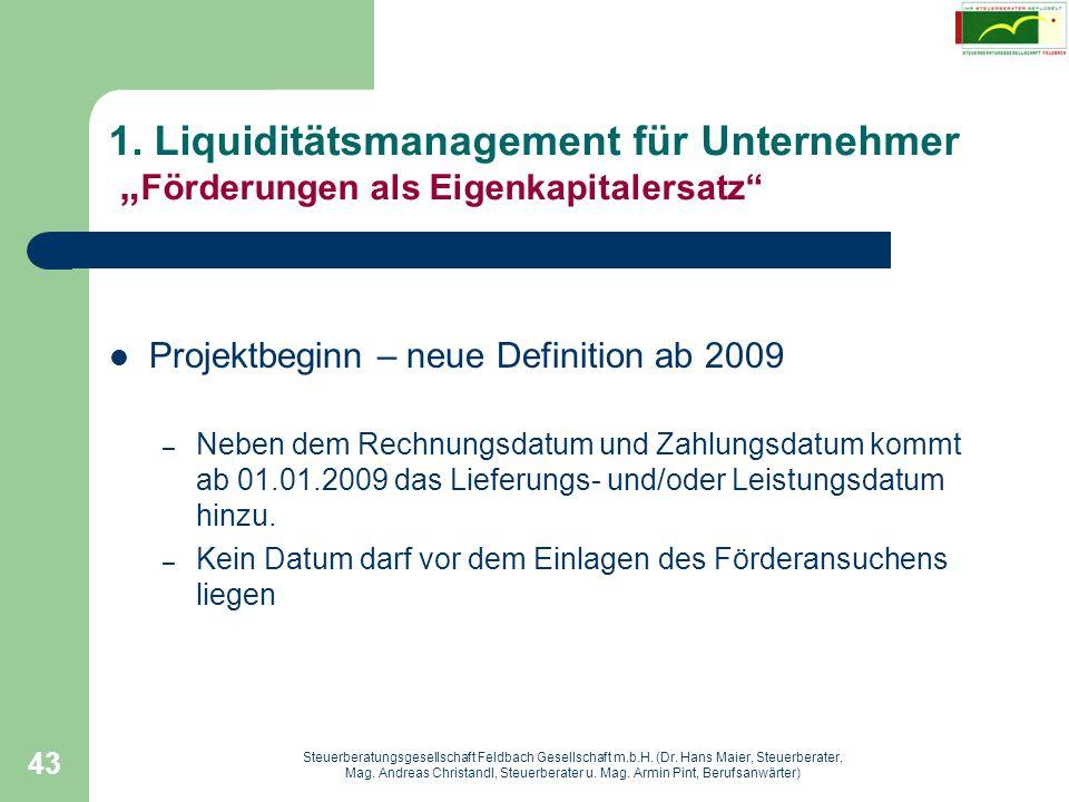 """1. Liquiditätsmanagement für Unternehmer """"Förderungen als Eigenkapitalersatz"""