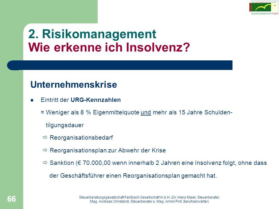 2. Risikomanagement Wie erkenne ich Insolvenz