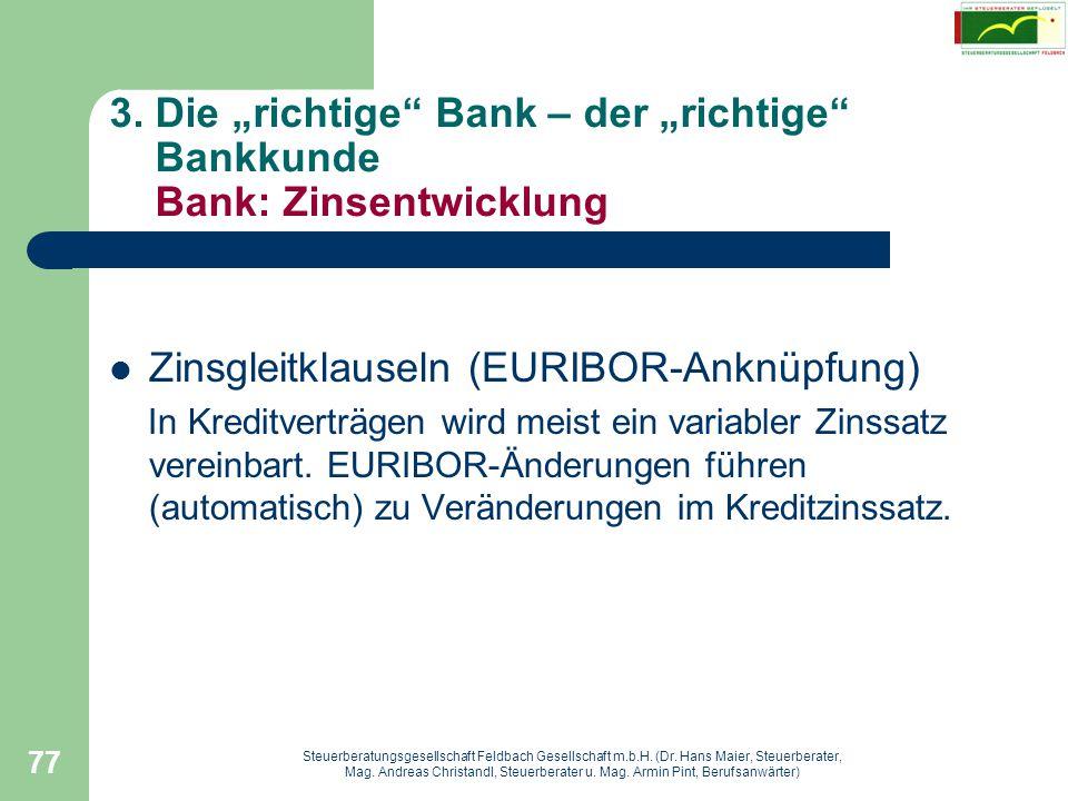 Zinsgleitklauseln (EURIBOR-Anknüpfung)