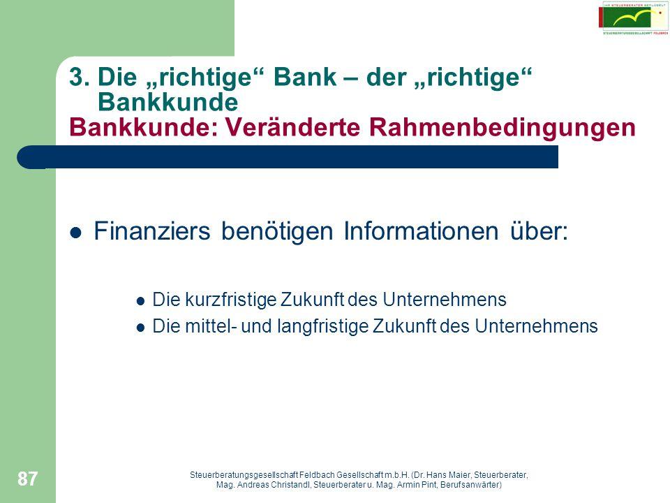 Finanziers benötigen Informationen über: