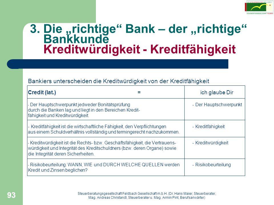 """3. Die """"richtige Bank – der """"richtige Bankkunde Kreditwürdigkeit - Kreditfähigkeit"""