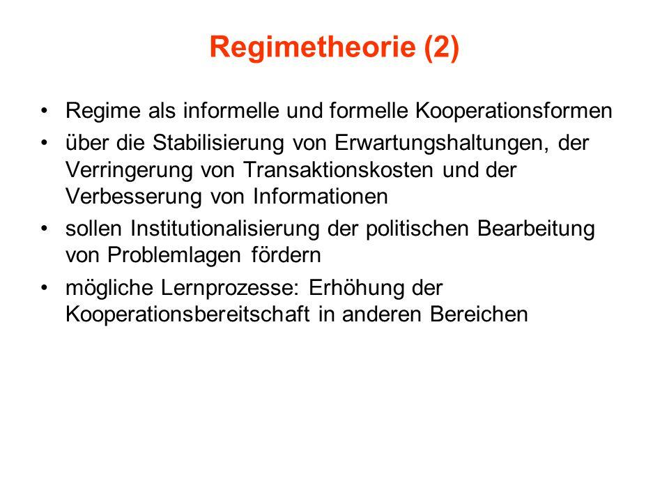 Regimetheorie (2) Regime als informelle und formelle Kooperationsformen.