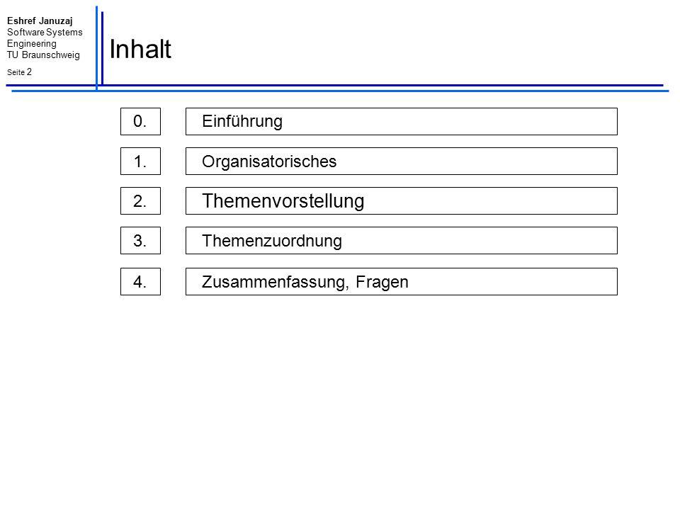 Inhalt Themenvorstellung Einführung 0. Organisatorisches 1. 2.