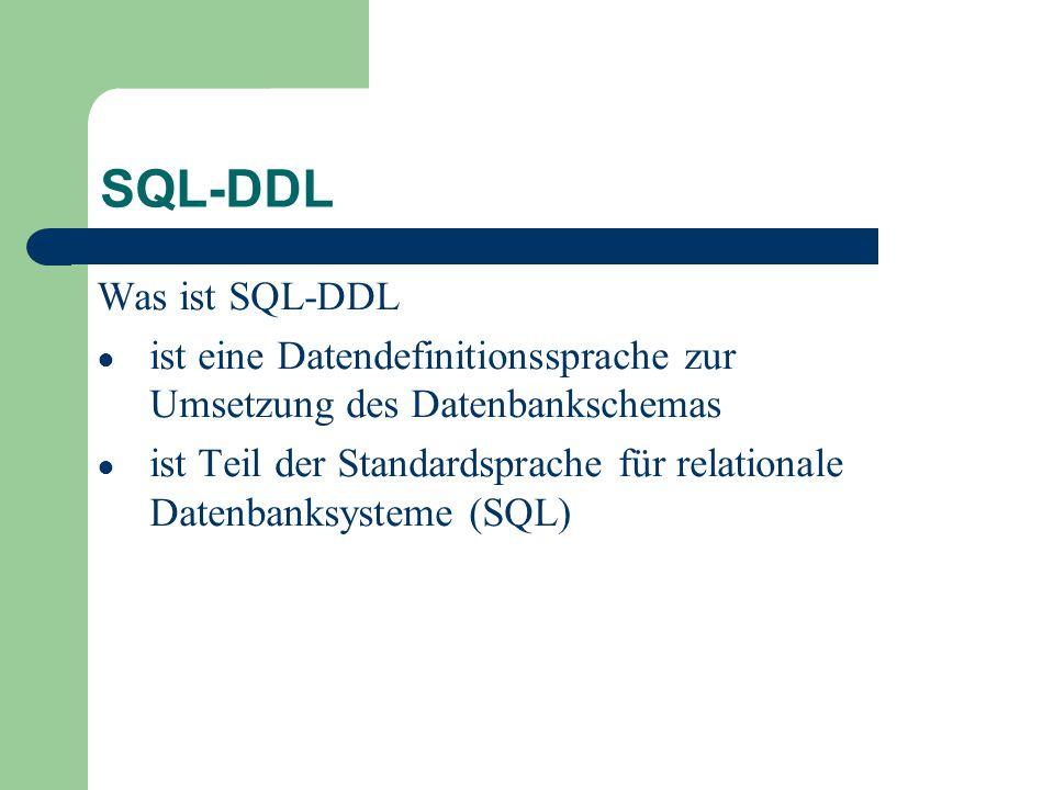 SQL-DDL Was ist SQL-DDL