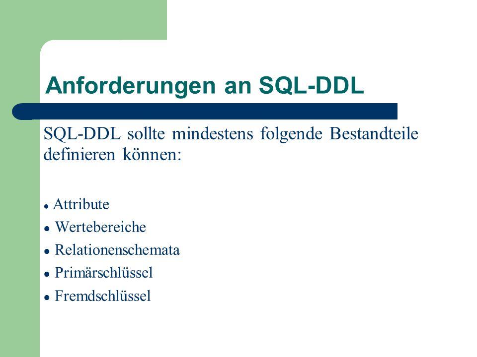 Anforderungen an SQL-DDL