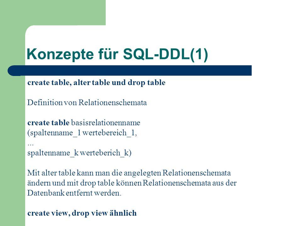 Konzepte für SQL-DDL(1)