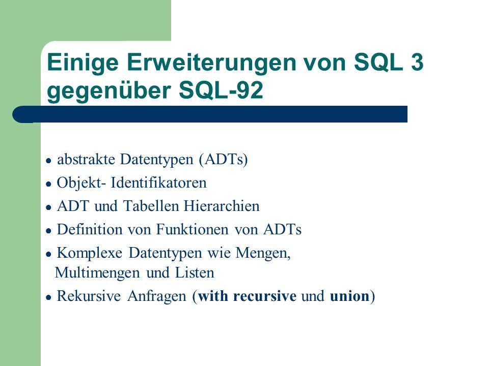 Einige Erweiterungen von SQL 3 gegenüber SQL-92