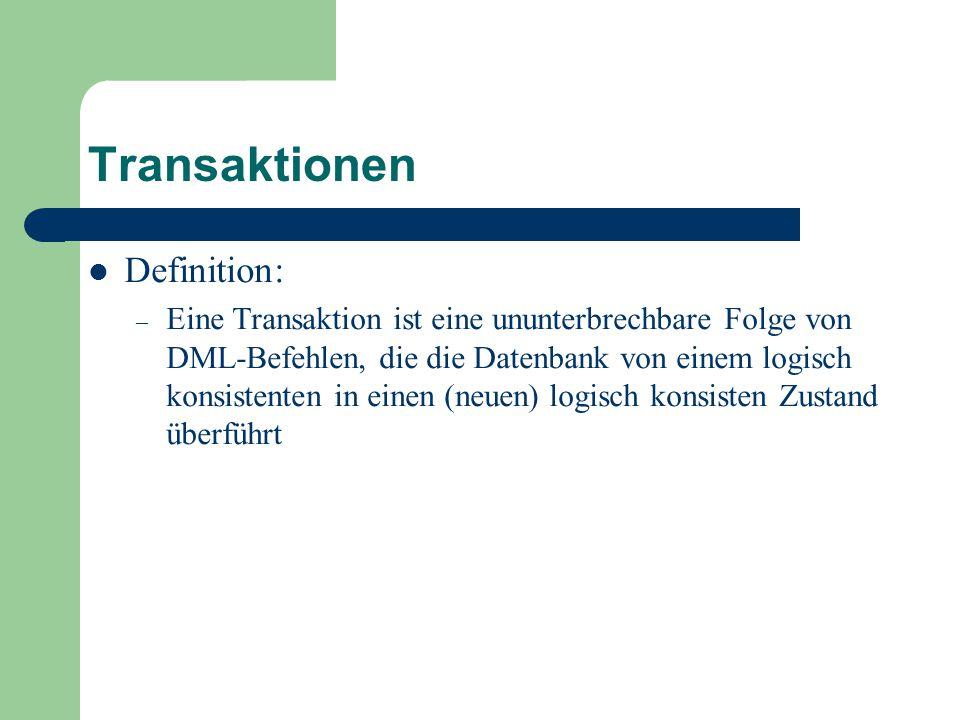 Transaktionen Definition: