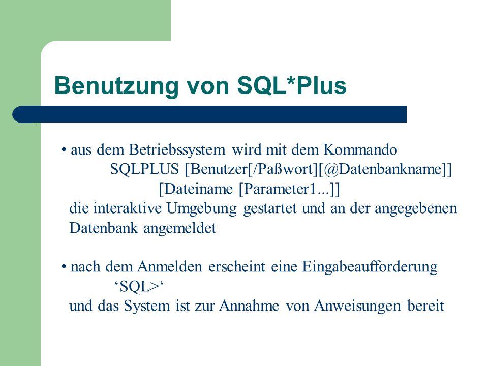 Benutzung von SQL*Plus
