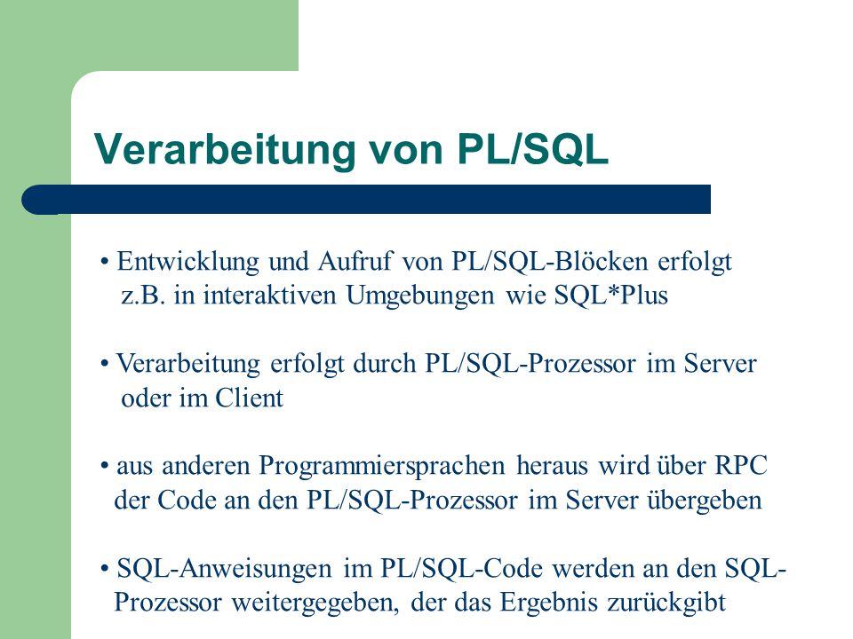 Verarbeitung von PL/SQL