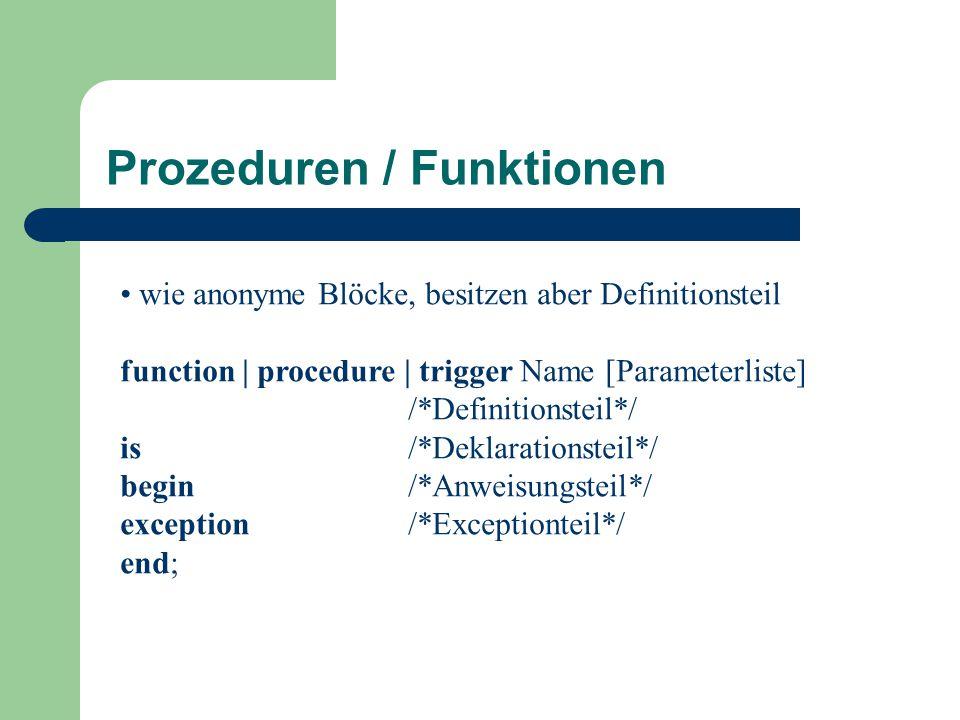 Prozeduren / Funktionen