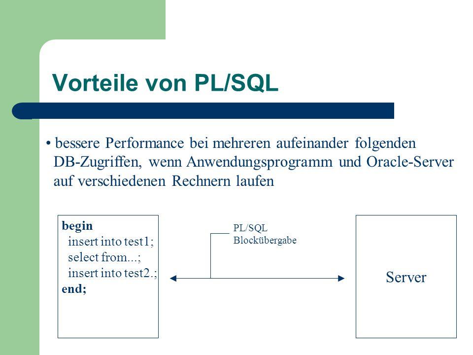 Vorteile von PL/SQL bessere Performance bei mehreren aufeinander folgenden. DB-Zugriffen, wenn Anwendungsprogramm und Oracle-Server.