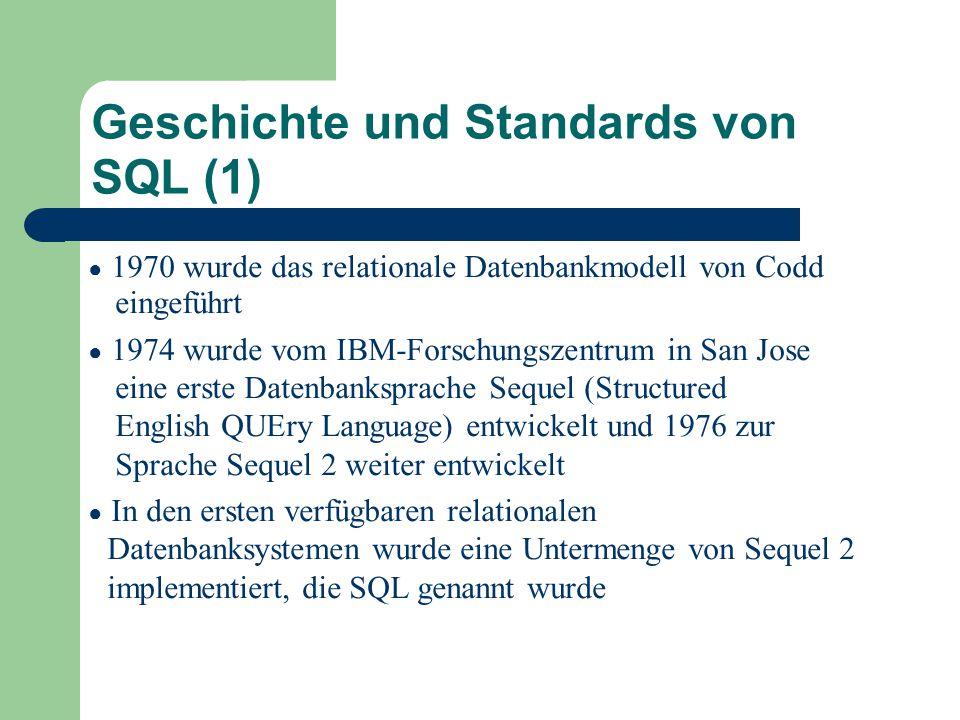 Geschichte und Standards von SQL (1)