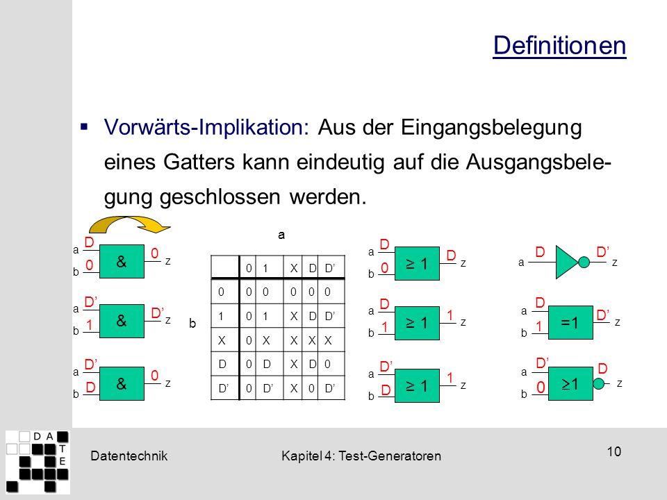 Definitionen Vorwärts-Implikation: Aus der Eingangsbelegung eines Gatters kann eindeutig auf die Ausgangsbele- gung geschlossen werden.