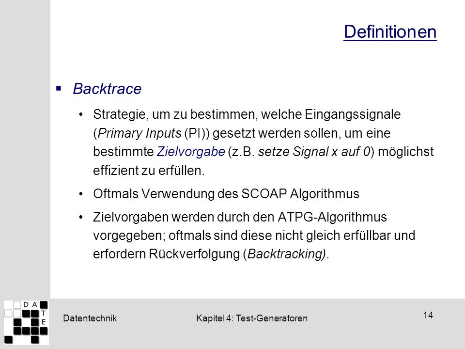 Definitionen Backtrace