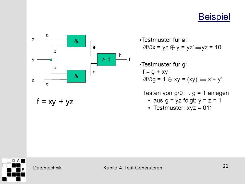 Beispiel f = xy + yz & Testmuster für a: ∂f/∂x = yz  y = yz' yz = 10