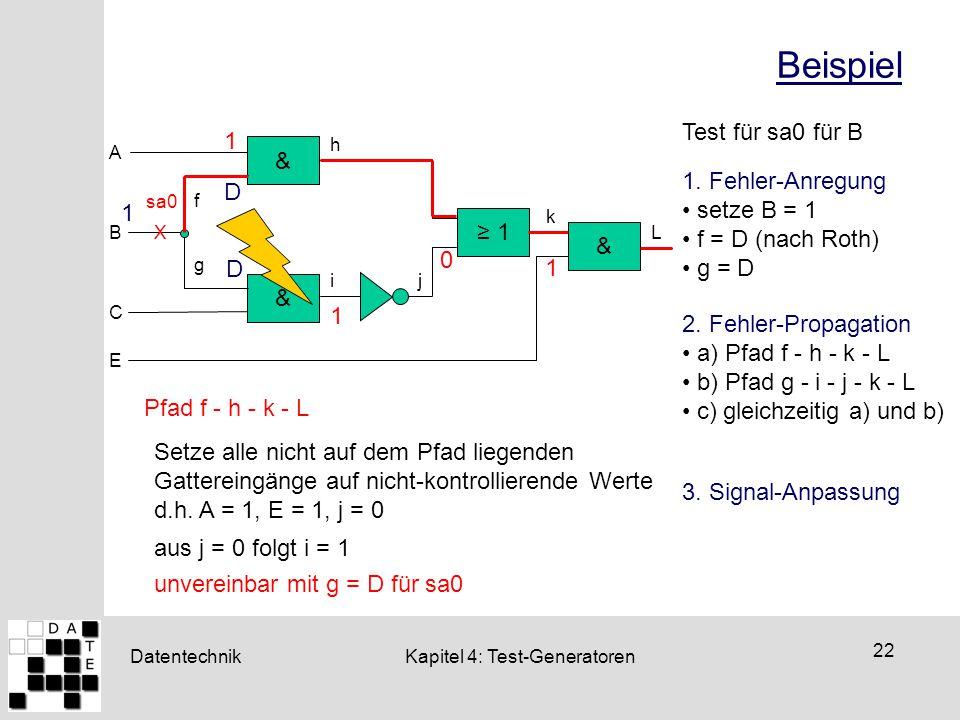 Beispiel Test für sa0 für B 1 & 1. Fehler-Anregung D setze B = 1