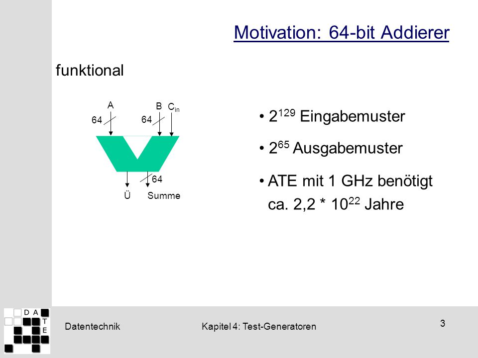 Motivation: 64-bit Addierer