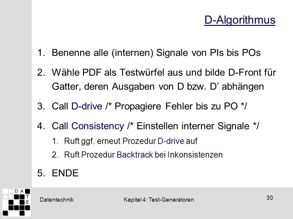 D-Algorithmus Benenne alle (internen) Signale von PIs bis POs