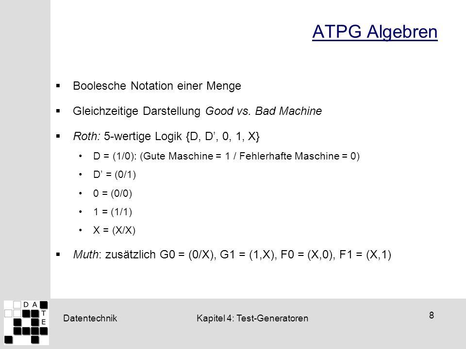 ATPG Algebren Boolesche Notation einer Menge