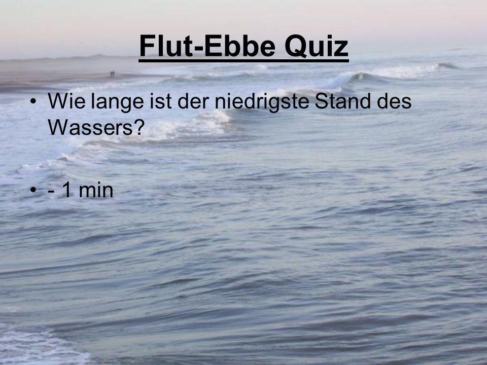 Flut-Ebbe Quiz Wie lange ist der niedrigste Stand des Wassers - 1 min