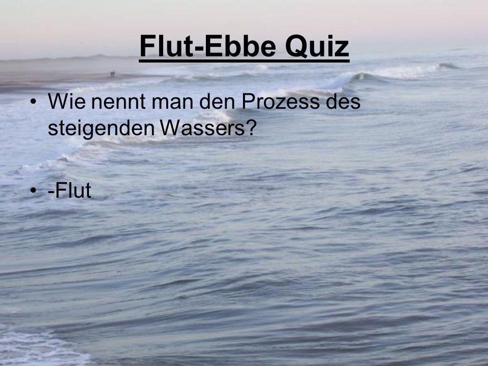 Flut-Ebbe Quiz Wie nennt man den Prozess des steigenden Wassers -Flut