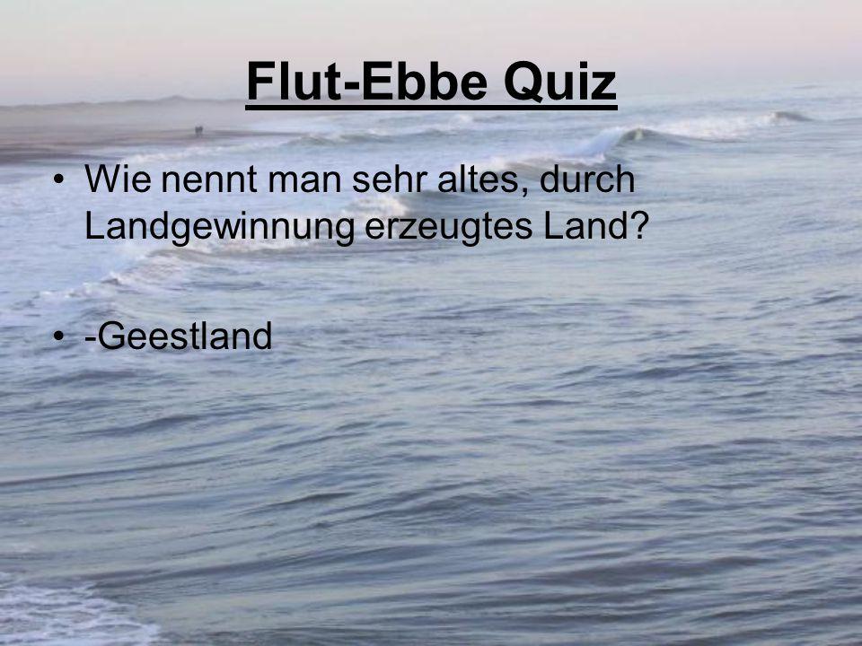 Flut-Ebbe Quiz Wie nennt man sehr altes, durch Landgewinnung erzeugtes Land -Geestland