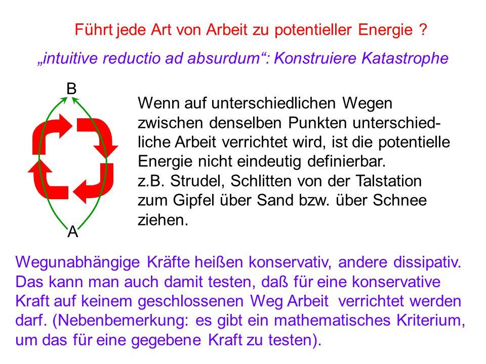Führt jede Art von Arbeit zu potentieller Energie