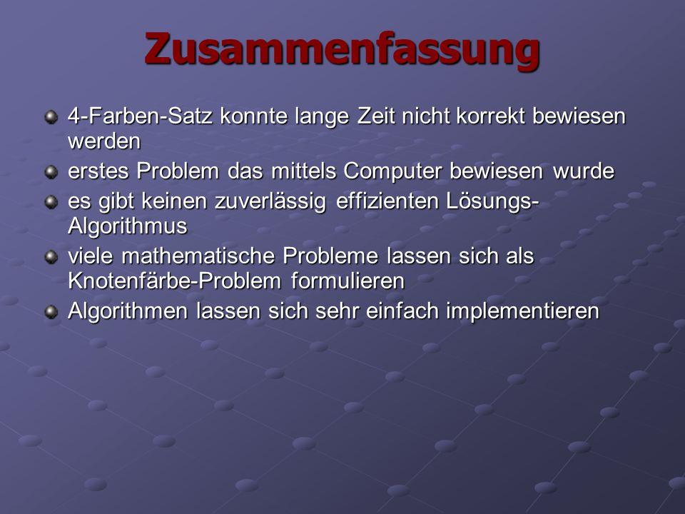Zusammenfassung 4-Farben-Satz konnte lange Zeit nicht korrekt bewiesen werden. erstes Problem das mittels Computer bewiesen wurde.