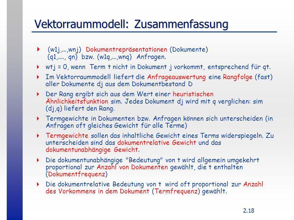 Vektorraummodell: Zusammenfassung
