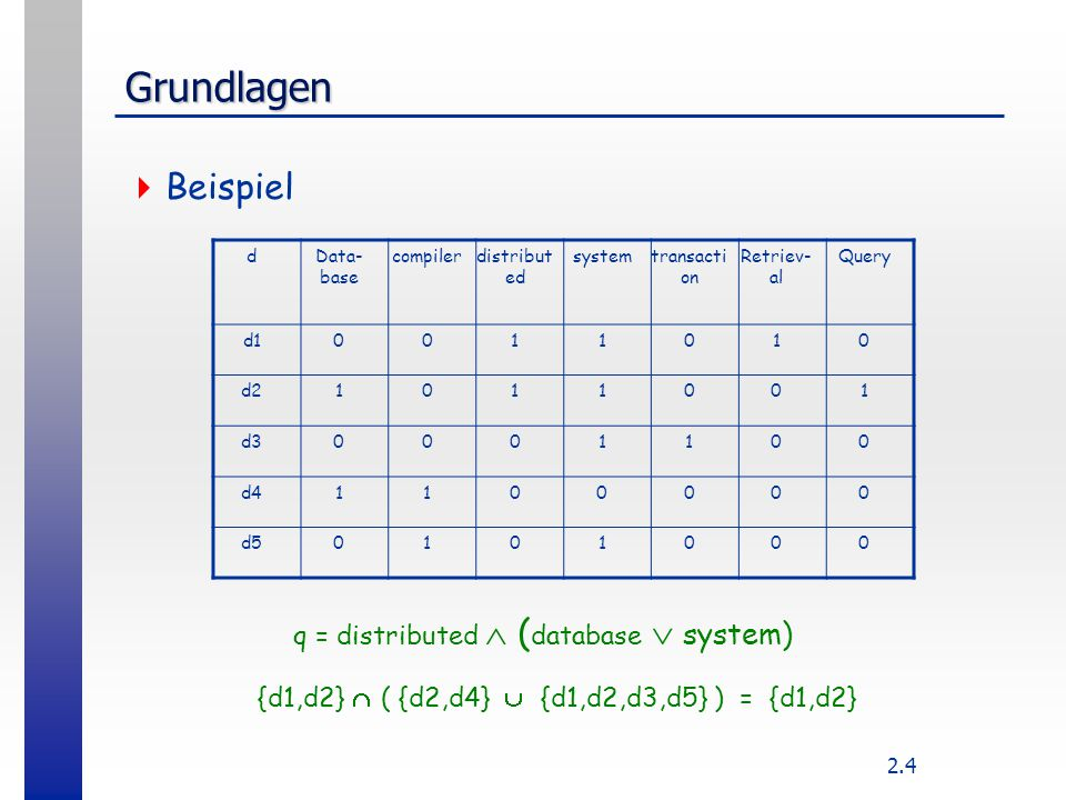 Grundlagen Beispiel q = distributed  (database  system)