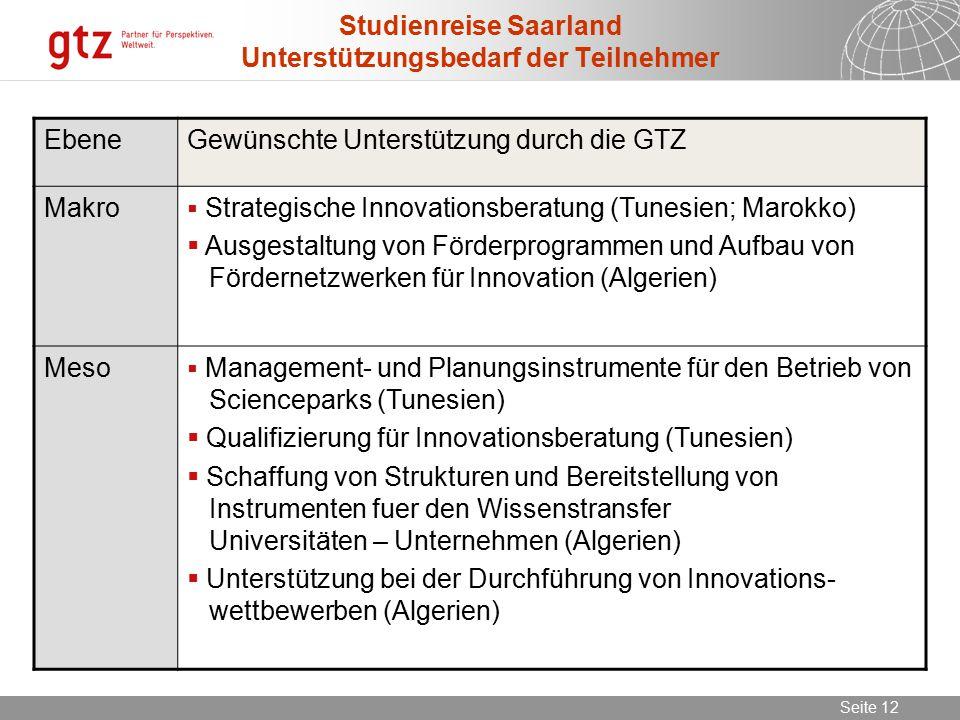 Studienreise Saarland Unterstützungsbedarf der Teilnehmer