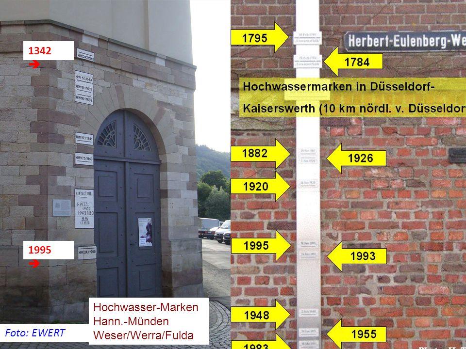 1342  1995  Hochwasser-Marken Hann.-Münden Weser/Werra/Fulda Foto: EWERT