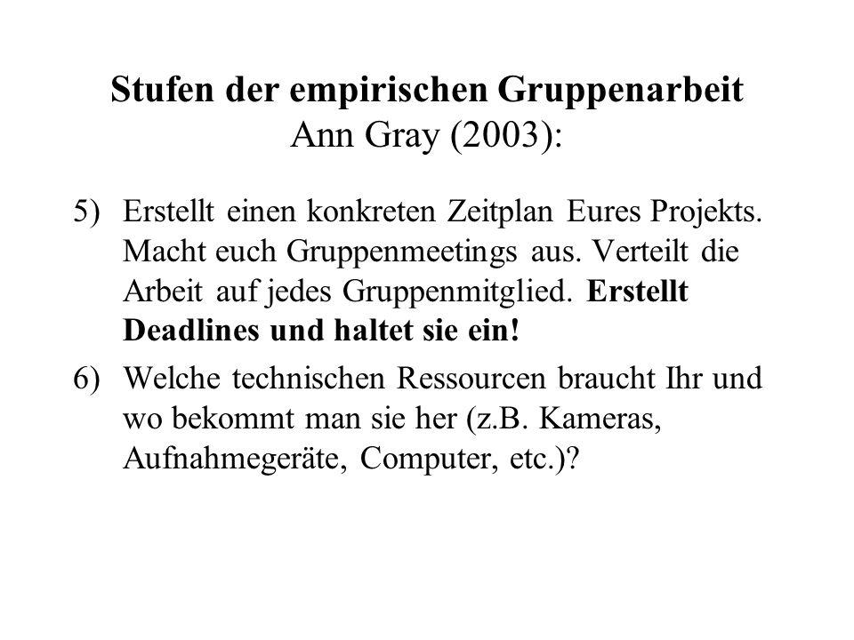 Stufen der empirischen Gruppenarbeit Ann Gray (2003):