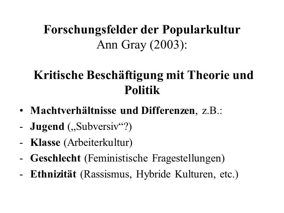 Forschungsfelder der Popularkultur Ann Gray (2003): Kritische Beschäftigung mit Theorie und Politik