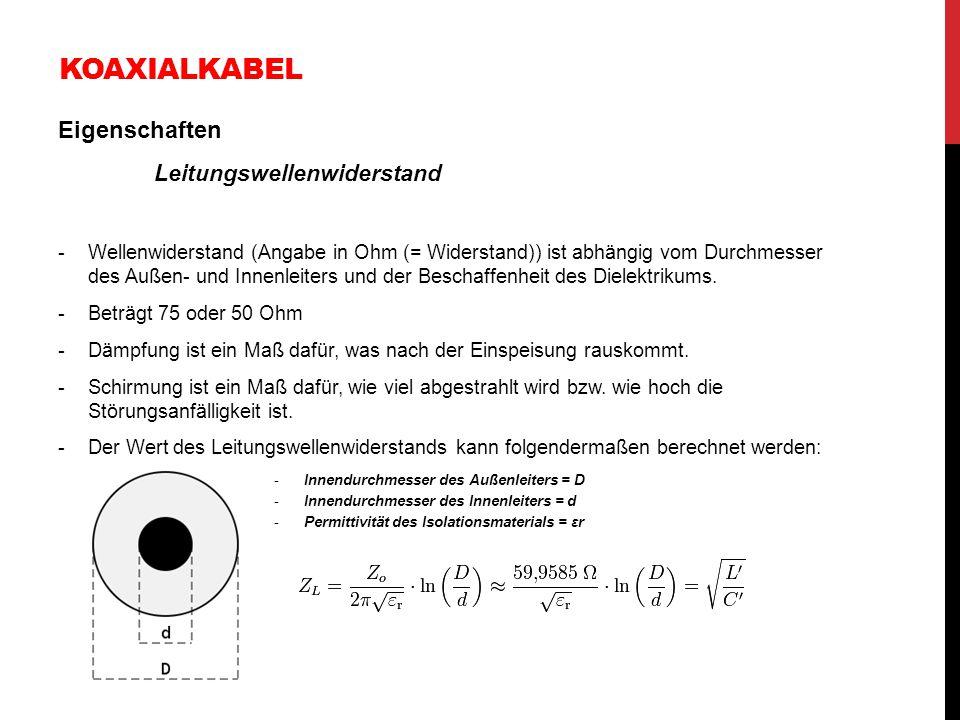 Koaxialkabel Eigenschaften Leitungswellenwiderstand
