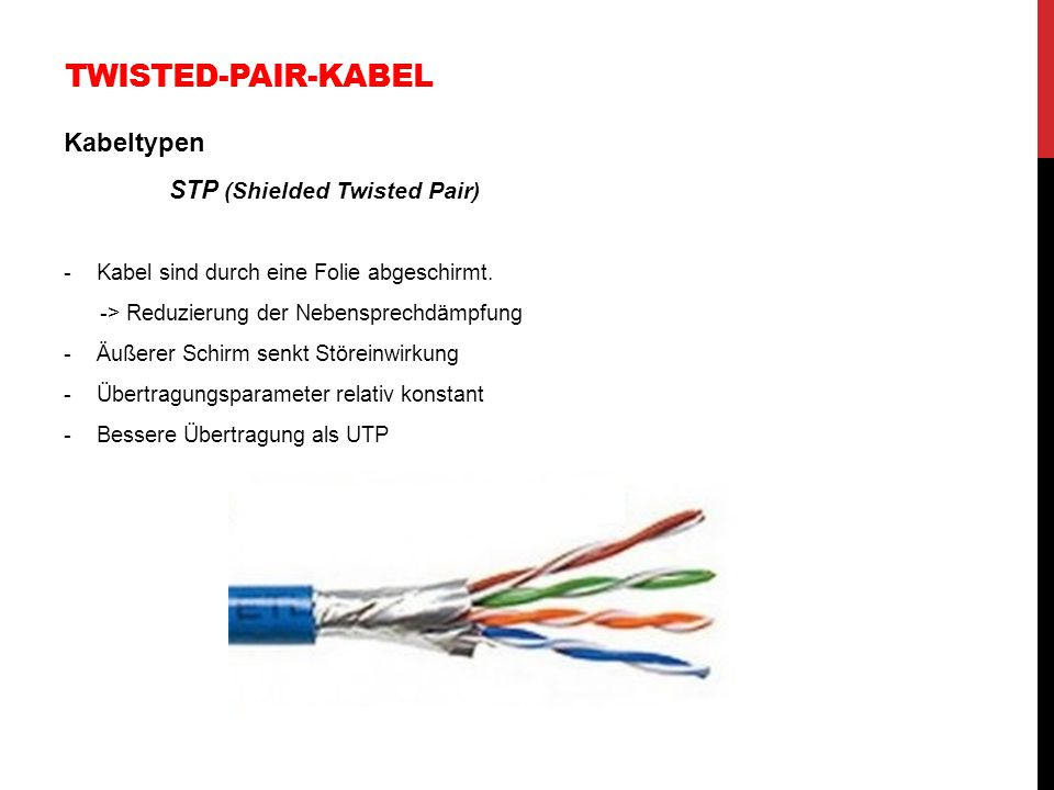 Twisted-Pair-Kabel Kabeltypen STP (Shielded Twisted Pair)