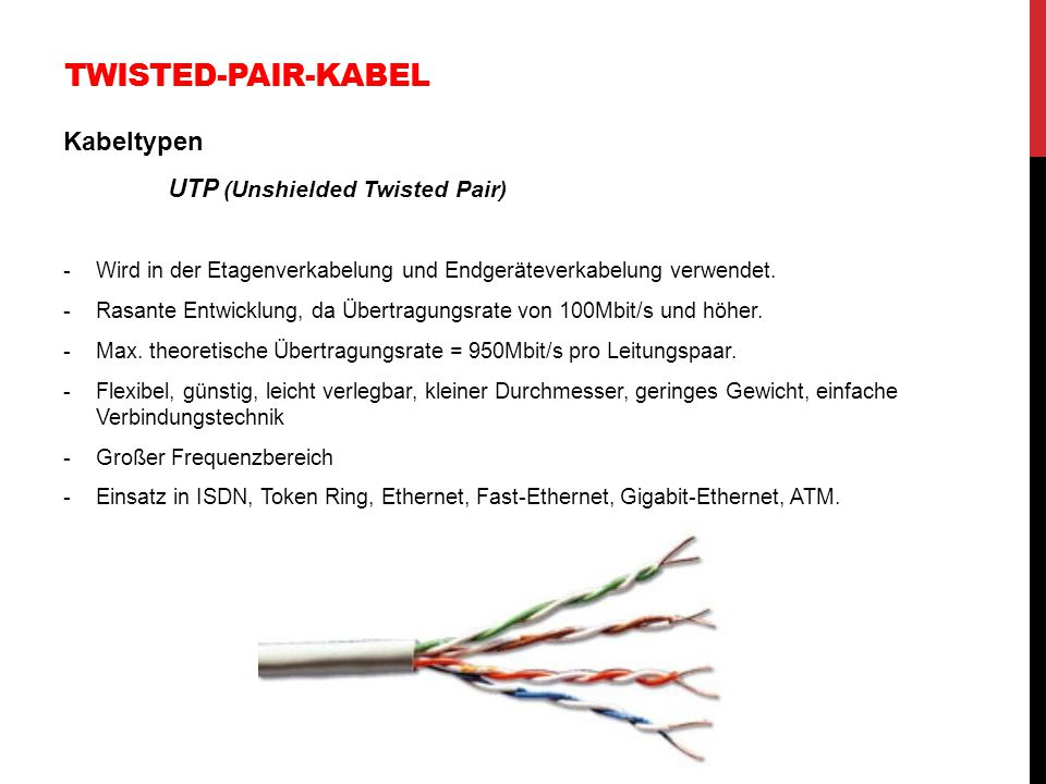 Twisted-Pair-Kabel Kabeltypen UTP (Unshielded Twisted Pair)
