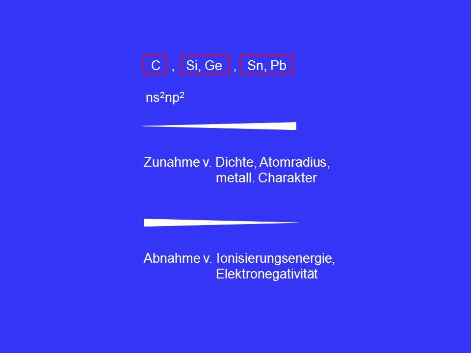 C , Si, Ge , Sn, Pb ns2np2. Zunahme v. Dichte, Atomradius, metall. Charakter. Abnahme v. Ionisierungsenergie,