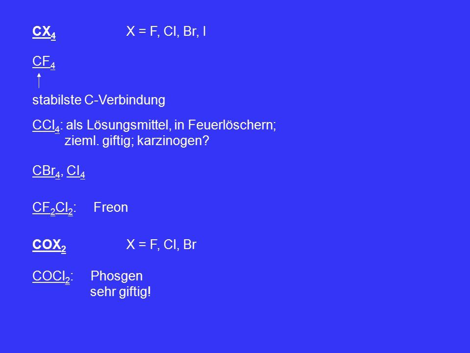 CX4 X = F, Cl, Br, I CF4. stabilste C-Verbindung. CCl4: als Lösungsmittel, in Feuerlöschern; zieml. giftig; karzinogen