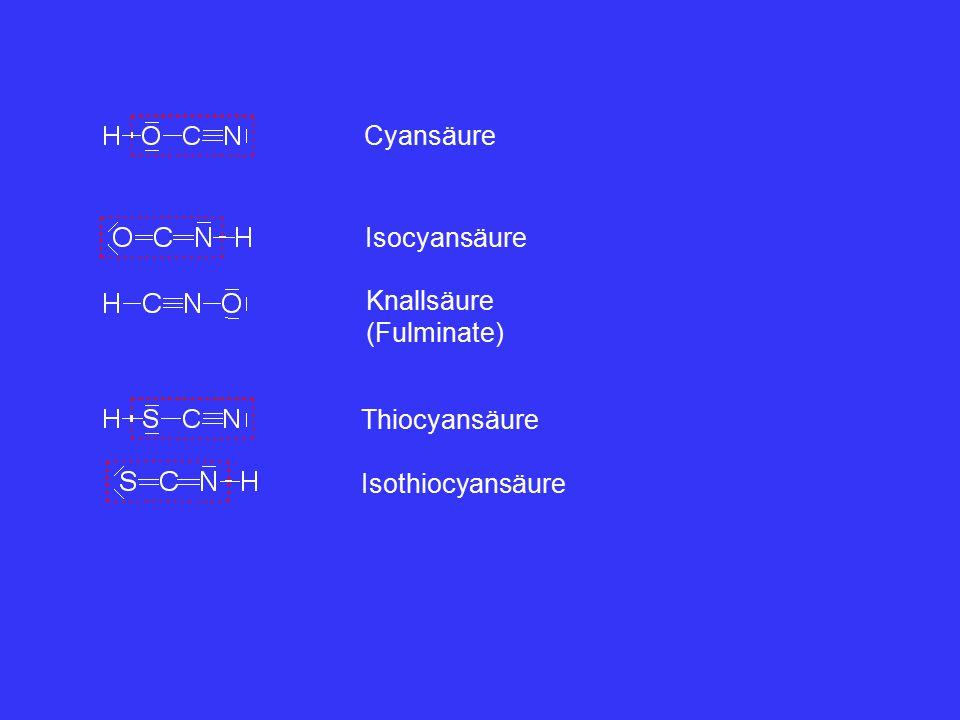 Cyansäure Isocyansäure Knallsäure (Fulminate) Thiocyansäure Isothiocyansäure