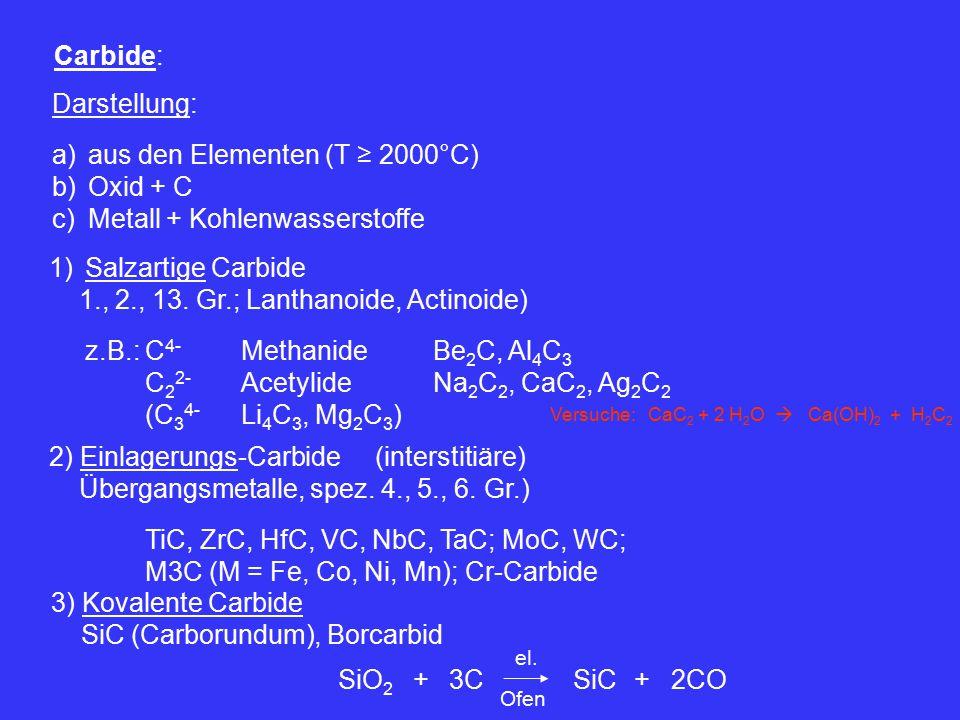 aus den Elementen (T ≥ 2000°C) Oxid + C Metall + Kohlenwasserstoffe