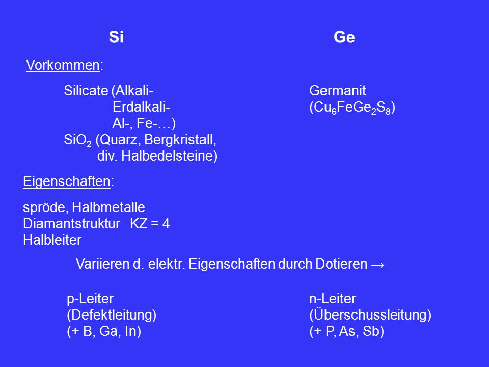 Si Ge Vorkommen: Silicate (Alkali- Erdalkali- Al-, Fe-…)