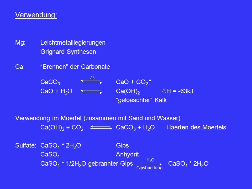 Verwendung: Mg: Leichtmetalllegierungen Grignard Synthesen