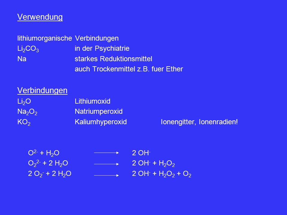 Verwendung Verbindungen lithiumorganische Verbindungen