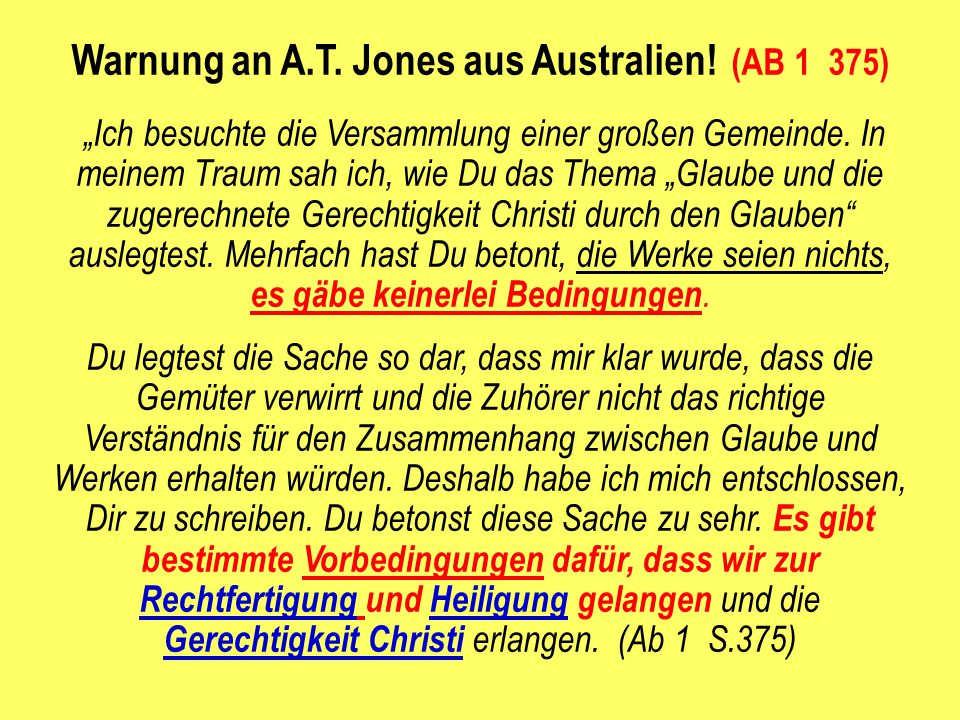 Warnung an A.T. Jones aus Australien! (AB 1 375)