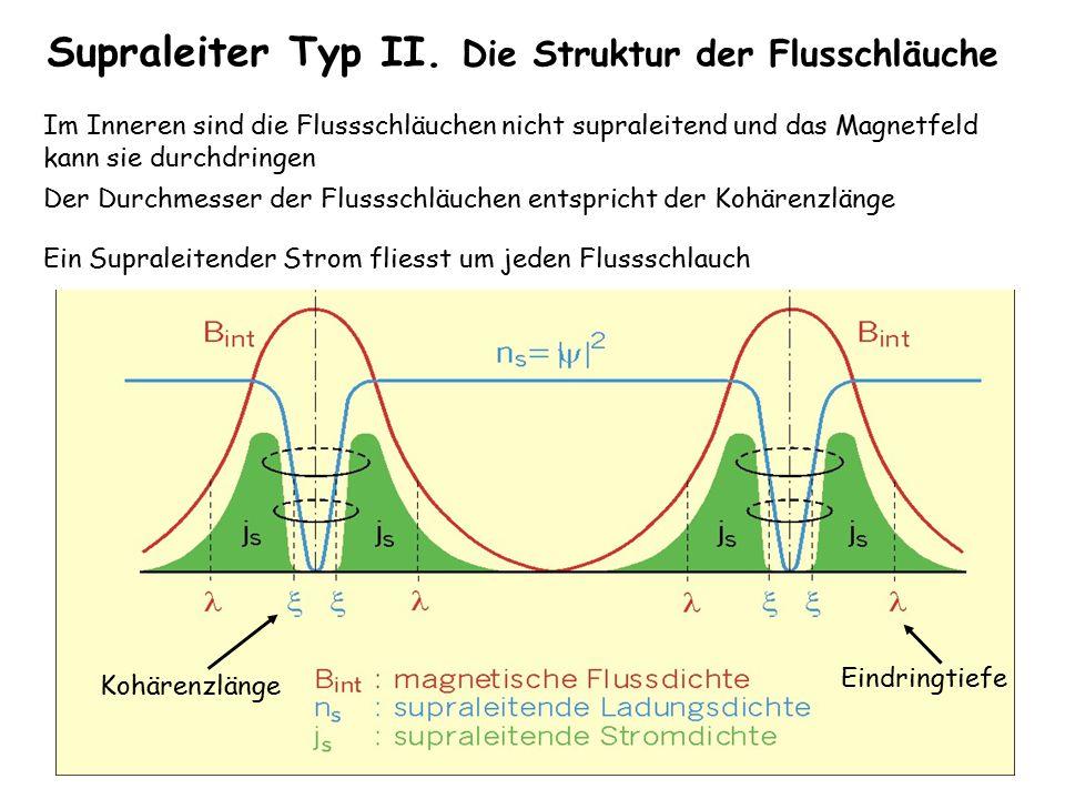 Supraleiter Typ II. Die Struktur der Flusschläuche