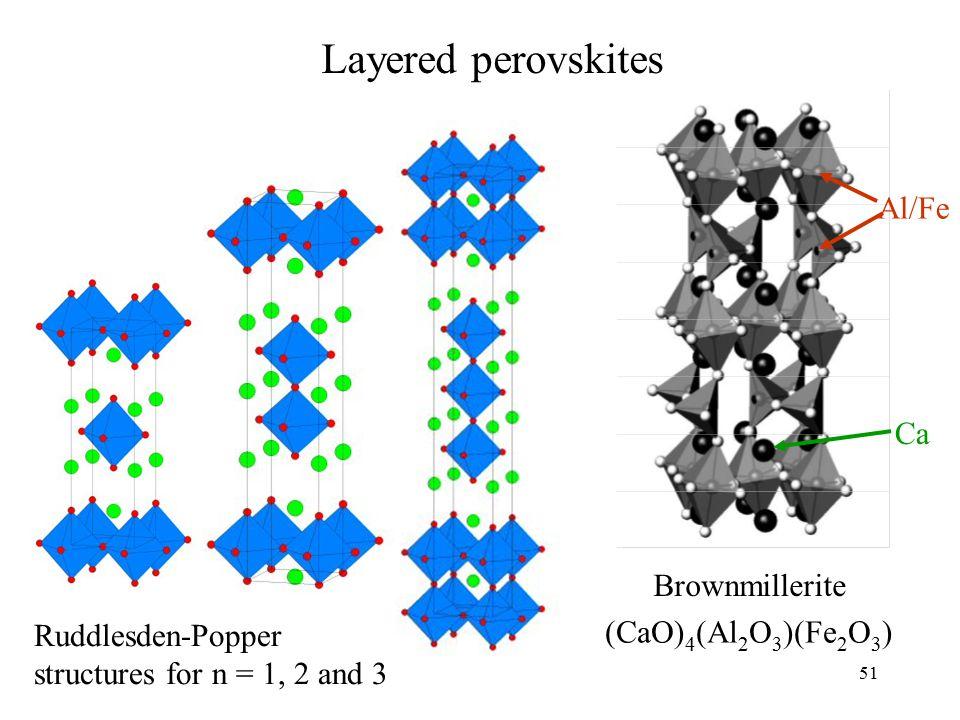 Layered perovskites Al/Fe Ca Brownmillerite (CaO)4(Al2O3)(Fe2O3)