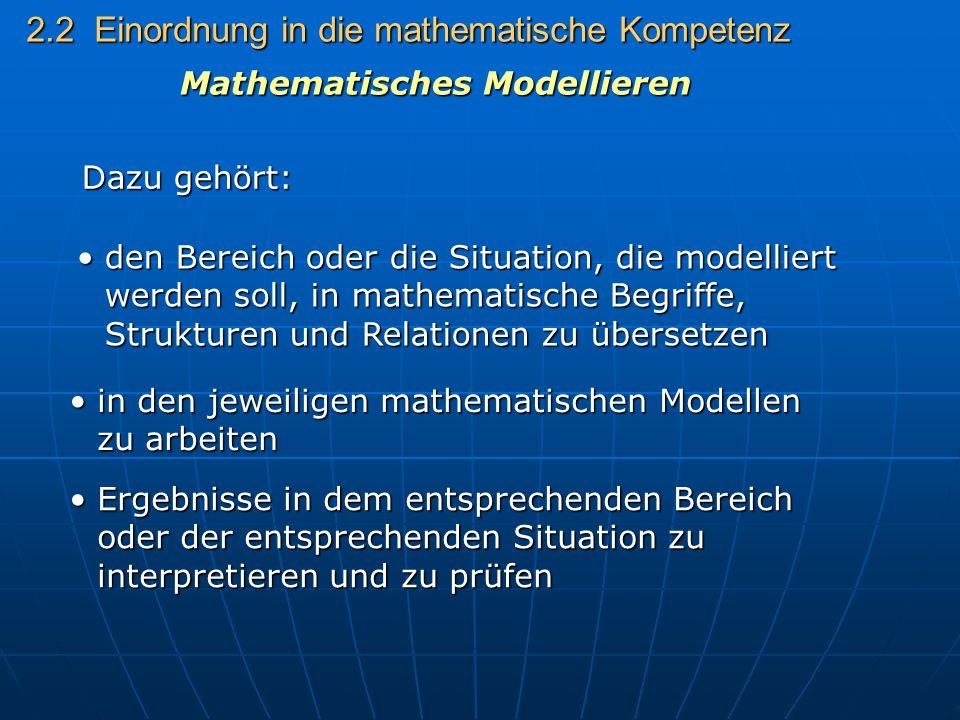 2.2 Einordnung in die mathematische Kompetenz